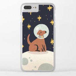 Dog on the moon Clear iPhone Case