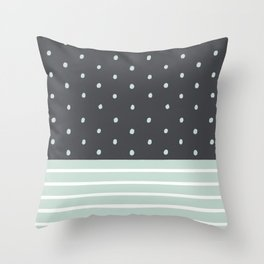 Mint Charcoal Polka Dots & Stripes Throw Pillow