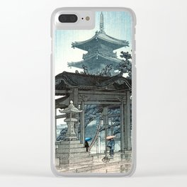 Rain at Zenshuji Temple by Kawase Hasui - Japanese Vintage Woodblock Ukiyo-e Painting Clear iPhone Case
