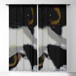 Black white cat Blackout Curtain