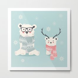 Two Cute Winter Bears Knitted Scarfs Metal Print
