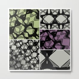 DISTORTION AND PERCEPTION PATTERN  - GREEN & PURPLE Metal Print