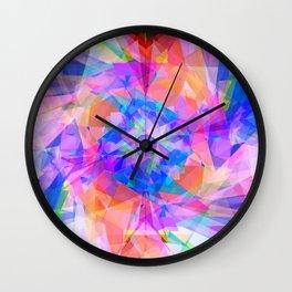 Modern bright pink lavender abstract kaleidoscope pattern Wall Clock