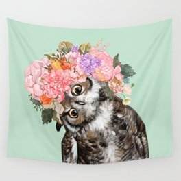 Owl with Flowers Crown in Green Wall Tapestry