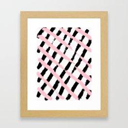 Pink and Black Sketch Checker Framed Art Print