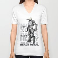 heavy metal V-neck T-shirts featuring Heavy Metal by Laura Stephens