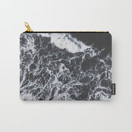 Sea Lace - Black and White Aerial Sea Ocean travel photography by Ingrid Beddoes Carry-All Pouch