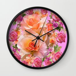 PINK-YELLOW ANTIQUE ROSES VIGNETTE Wall Clock