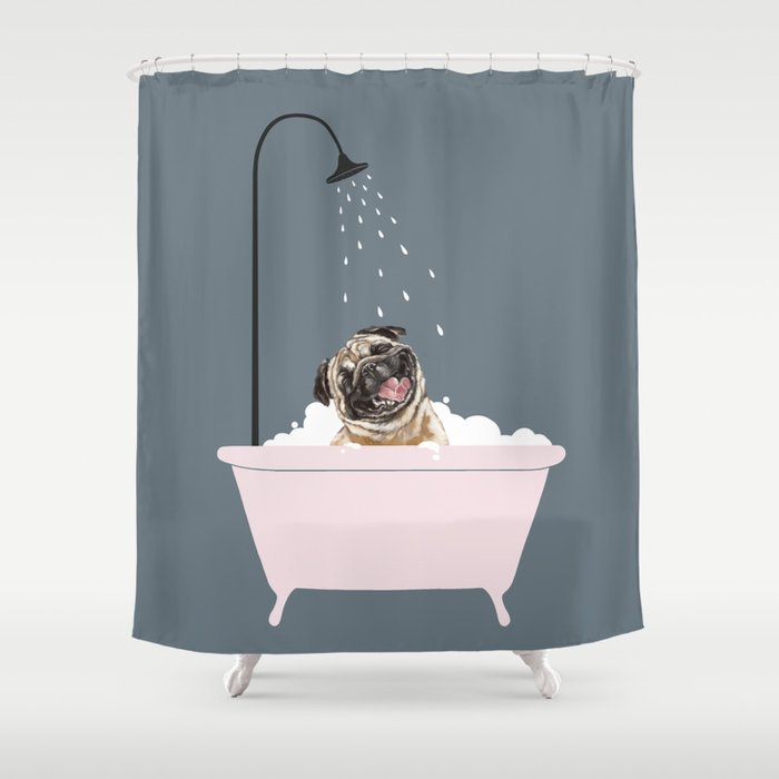 Laughing Pug Enjoying Bubble Bath Shower Curtain
