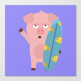 Surfin Pig with Surfboard Bahqt Canvas Print