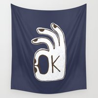 kim sy ok Wall Tapestries featuring OK by Alisa Galitsyna