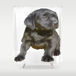 Adorable and Cute Black Labrador Puppy Vector Shower Curtain