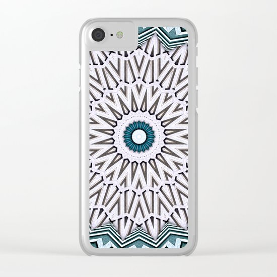 Turquoise Kaleidoscope Clear iPhone Case