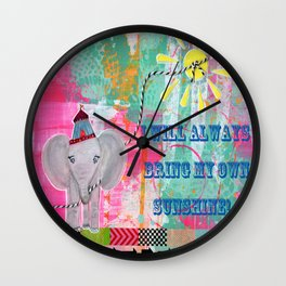"Happy Little Elephant ""I will always bring my own sunshine"" Wall Clock"
