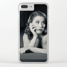 """Bored Now"" - The Playful Pinup - Modern Boudoir with Piercing by Maxwell H. Johnson Clear iPhone Case"