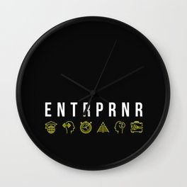 ENTRPRNR - Entrepreneur with Icons Wall Clock