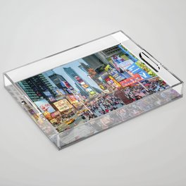 Times Square Tourists Acrylic Tray