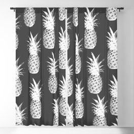 Pineapple Pattern - Dark Grey Blackout Curtain