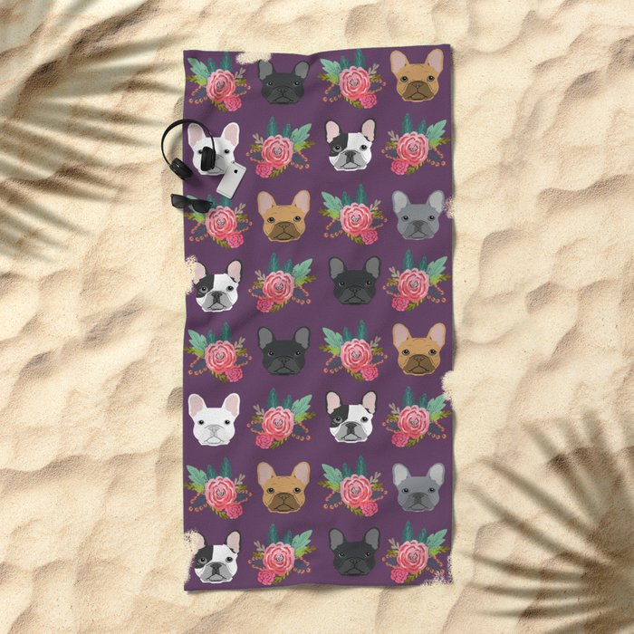 French Bulldog florals cute spring summer dog gifts bright happy frenchie puppy dog portraits  Beach Towel