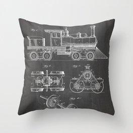 Train Locomotive Patent - Steam Train Art - Black Chalkboard Throw Pillow