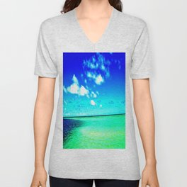 High color Summer Sandbar Sea Unisex V-Neck