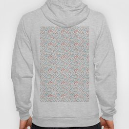 Coral Duck Egg Blue Greige Floral Leaves Pattern Hoody
