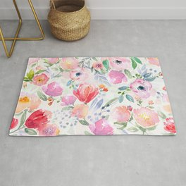 Beautiful Spring Watercolor Floral Painting Light Transparent Floral Kingdom Rug