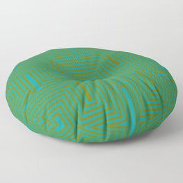 Doors & corners op art pattern in olive green and aqua blue Floor Pillow