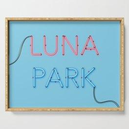 LUNA PARK - cyan strong Serving Tray