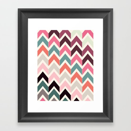 Retro Light Chevrons Framed Art Print