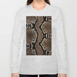 Python Skin Pattern Snake Skin Brown Animal Print Home Decor Long Sleeve T-shirt