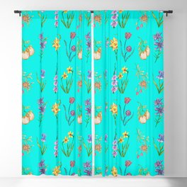 Realistic Flowers on Turquoise Pattern Blackout Curtain