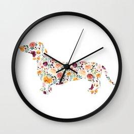 Dachshund - Watercolor/Floral Wall Clock