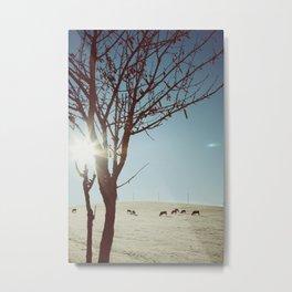 Tree and Cows Metal Print