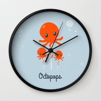octopus Wall Clocks featuring Octopus by Jane Mathieu