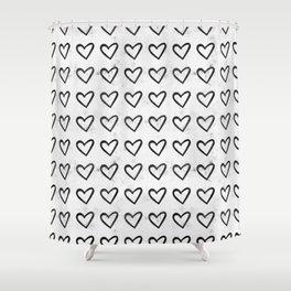 Big Heart Ink Pattern Shower Curtain