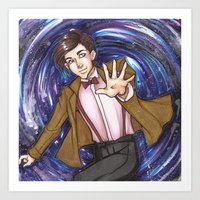 dr who Art Prints featuring Dr. Who  by Synth Obscura Art