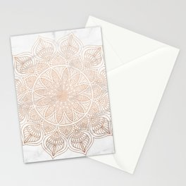 Mandala - rose gold and white marble 4 Stationery Cards