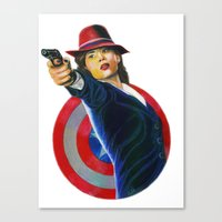 peggy carter Canvas Prints featuring Peggy Carter by Farah Jayden