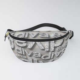 Diva Silver Glitter Repeated Typography Fanny Pack