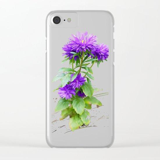 Purple Flowers, watercolors Clear iPhone Case