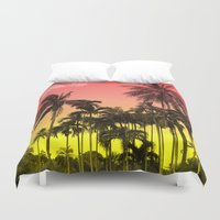 tropical Duvet Covers featuring palm tree  by mark ashkenazi