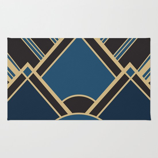 Art Deco New Tomorrow In Blue Rug