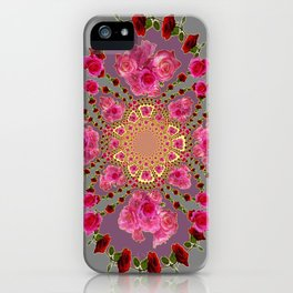 AWESOME PINK-RED ROSES ON  PINK-GREY GARDEN VIGNETTE PATTERN FOR the iPhone Case
