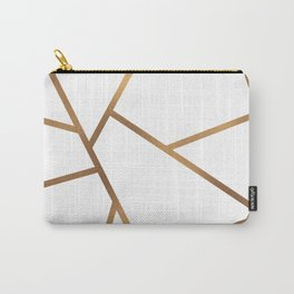White and Gold Fragments - Geometric Design Carry-All Pouch