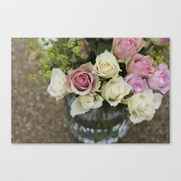 Rose Bouquet in a Vase Canvas Print