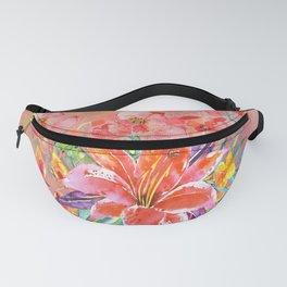 Hawaiian Lily Garden in Watercolor Fanny Pack