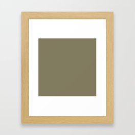 Simple Solid Color Army Brown All Over Print Framed Art Print