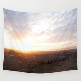 Salisbury Crags overlooking Edinburgh at sunset 2 Wall Tapestry