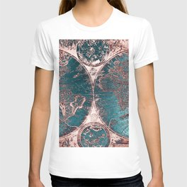 Antique World Map Pink Quartz Teal Blue by Nature Magick T-shirt